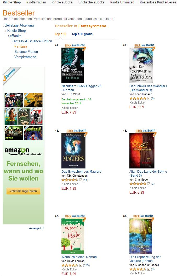 Die »Volturne« in den Kindle-Charts