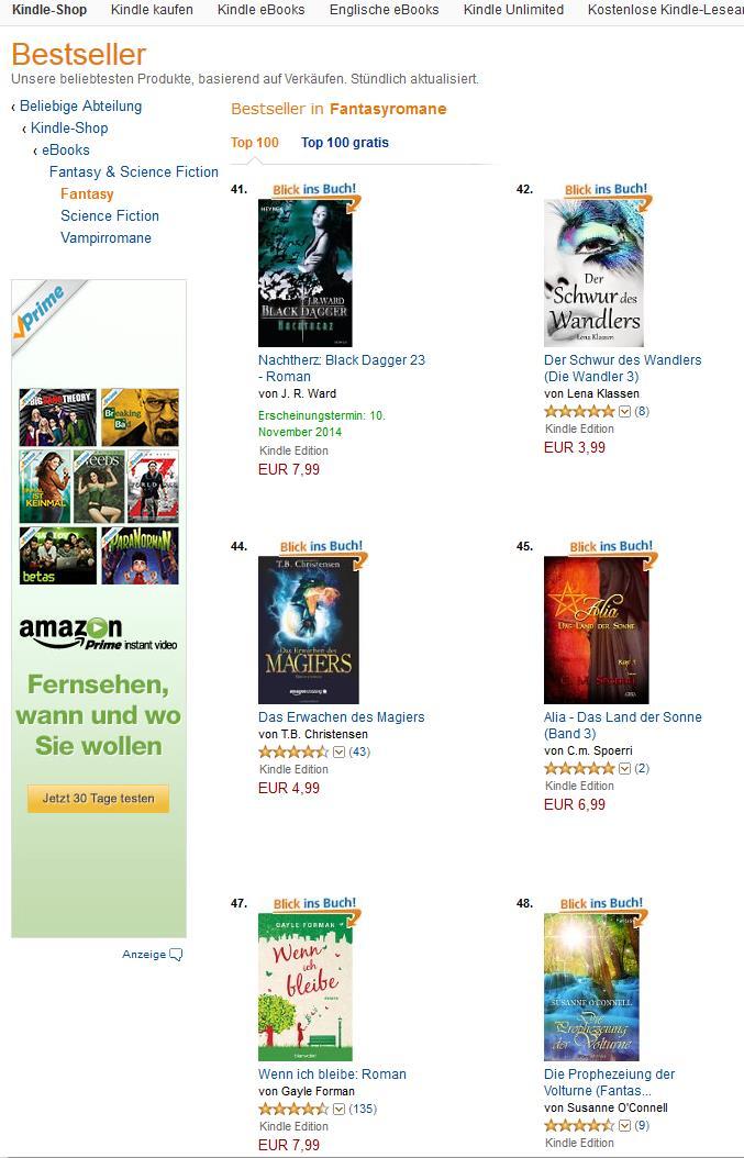 Die »Volturne« in den Kindle-Charts